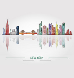new york skyline detailed silhouette vector image vector image