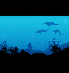 On blue sea dolphin landscape silhouettes vector