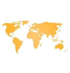 Orange silhouette of world map Simple flat vector image vector image
