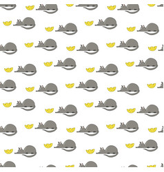 Pattern with a small mouse and yellow cheese vector