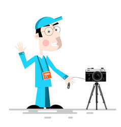 photographer with camera on tripod cartoon vector image vector image