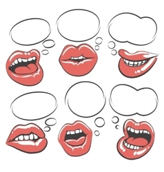 Pop art lips with speech bubble vector image vector image