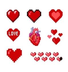 Set of pixel hearts vector