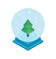 Snow glass ball with christmas tree icon vector