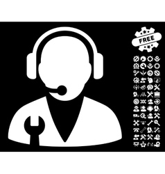 Support manager icon with tools bonus vector
