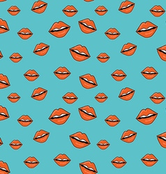 Sweet kiss seamless pattern Lips of woman with red vector image
