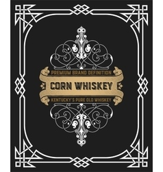 Whiskey label with old frame vector image vector image