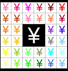 Yen sign felt-pen 33 colorful icons at vector