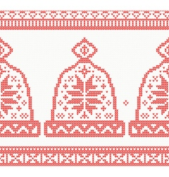 Knitted cap seamless pattern in red color vector