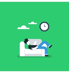 Lazy person resting on sofa procrastination habit vector