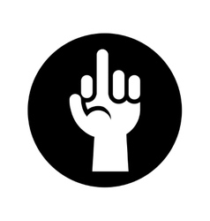 Hand showing middle finger gesture icon in black vector