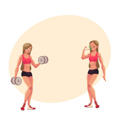 Woman bodybuilder working out with dumbbells and vector