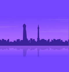 City building in londing scenery silhouettes vector