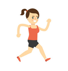 Sporty smiling girl in sportswear running vector