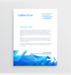 Abstract letterhead template in blue arrow style vector