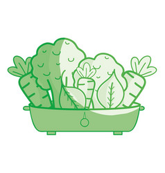 Fresh and delicious vegetables inside of pot vector