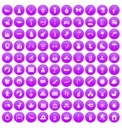 100 happy childhood icons set purple vector