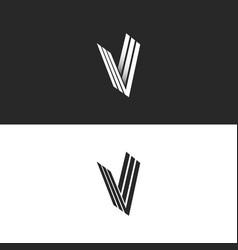 letter v logo isometric monogram simple symbol vector image