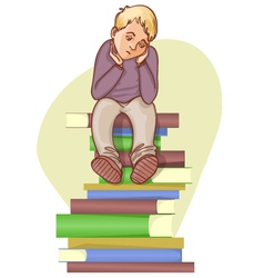 Boy is under stress with lot of books to read vector