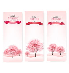 Three spring banners with blossoming sakura trees vector