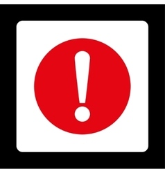 Problem flat red and white colors rounded button vector