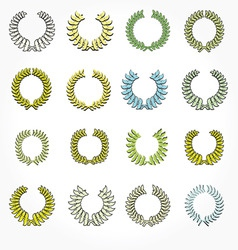 Set of crown laurel wreaths vector