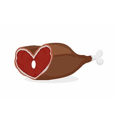 Smoked ham heart-shaped meat on the bone gammon vector