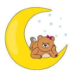 bear lying on the moon vector image