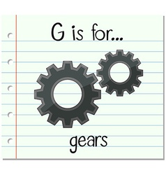 Flashcard letter g is for gears vector