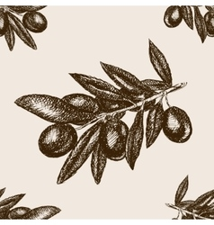 Olive branch sketch seamless pattern vector