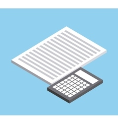Document and calculator icon isometric design vector