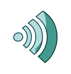 Aquamarine hand drawn silhouette of wifi signal vector