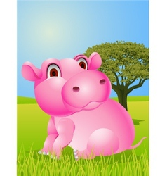 Baby hippo cartoon vector image