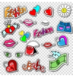 Big set of Girl Fashion Comics Style Patch Badges vector image vector image