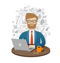 business businessman working on laptop vector image vector image