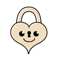 Color smile heart padlock kawaii personage vector