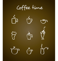 Cups and coffee pots vector