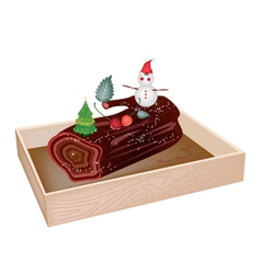 Delicious Yule Log Cake in Wooden Container vector image vector image