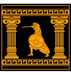 fantasy warrior with with columns fourth variant vector image vector image