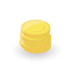 gold coin stacks on white background vector image