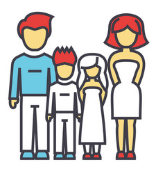 Happy family parents with kids father mother vector