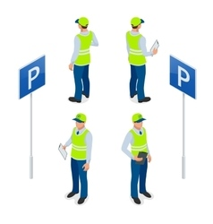 Isometric parking attendant traffic warden vector