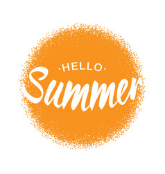 lettering hello summer yellow sun halftone circle vector image