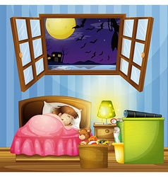 Little girl sleeping in the bedroom vector