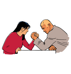 Man and woman arm wrestling vector