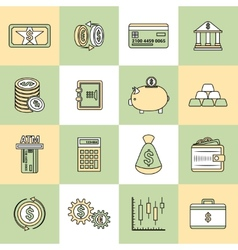 Money finance icons flat line vector