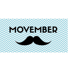 Movember banner with mustache and chevron pattern vector