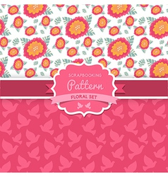 seamless patterns Dove Shabby chic Floral patterns vector image