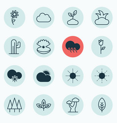 Set of 16 ecology icons includes plant bush vector