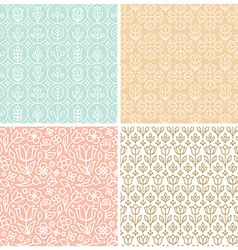 Set of seamless patterns in trendy linear style vector